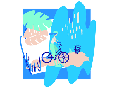 Vélo scenes vector print freelance portfolio illustration design