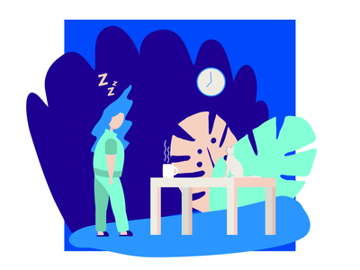 Monday Morning daylife vector print freelance scenes portfolio illustration design