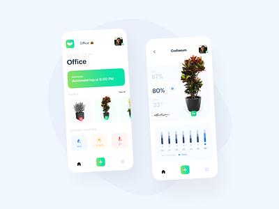 Plants Сontrol App 🌿 plants app app charts eco plants mobile mobile app ui uxui cards green white clean ux