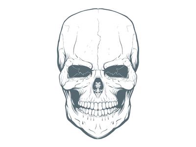 WIP Freehand Skull Illustration