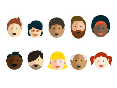 Faces vector faces illustration flat fun simple people human diverse