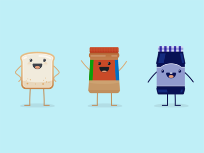 PB&J Y'all food happy cute character illustration