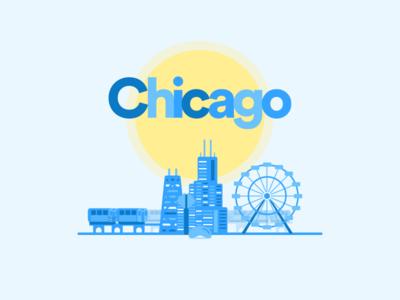 Chicago sears tower john hancock l train bean navy pier illustration city sketch freebie chicago