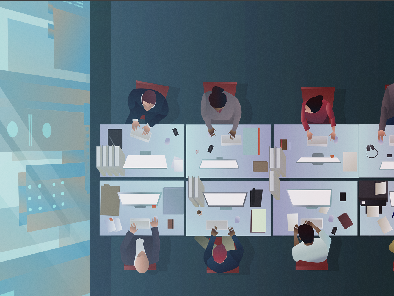 Office People desks vector animation city aoffice vector scifi photoshop illustration