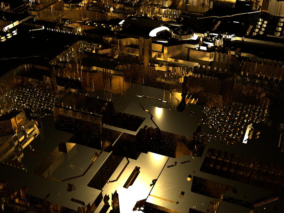 Golden displacement scifi illustration gold foil cinema4d 3d render gold