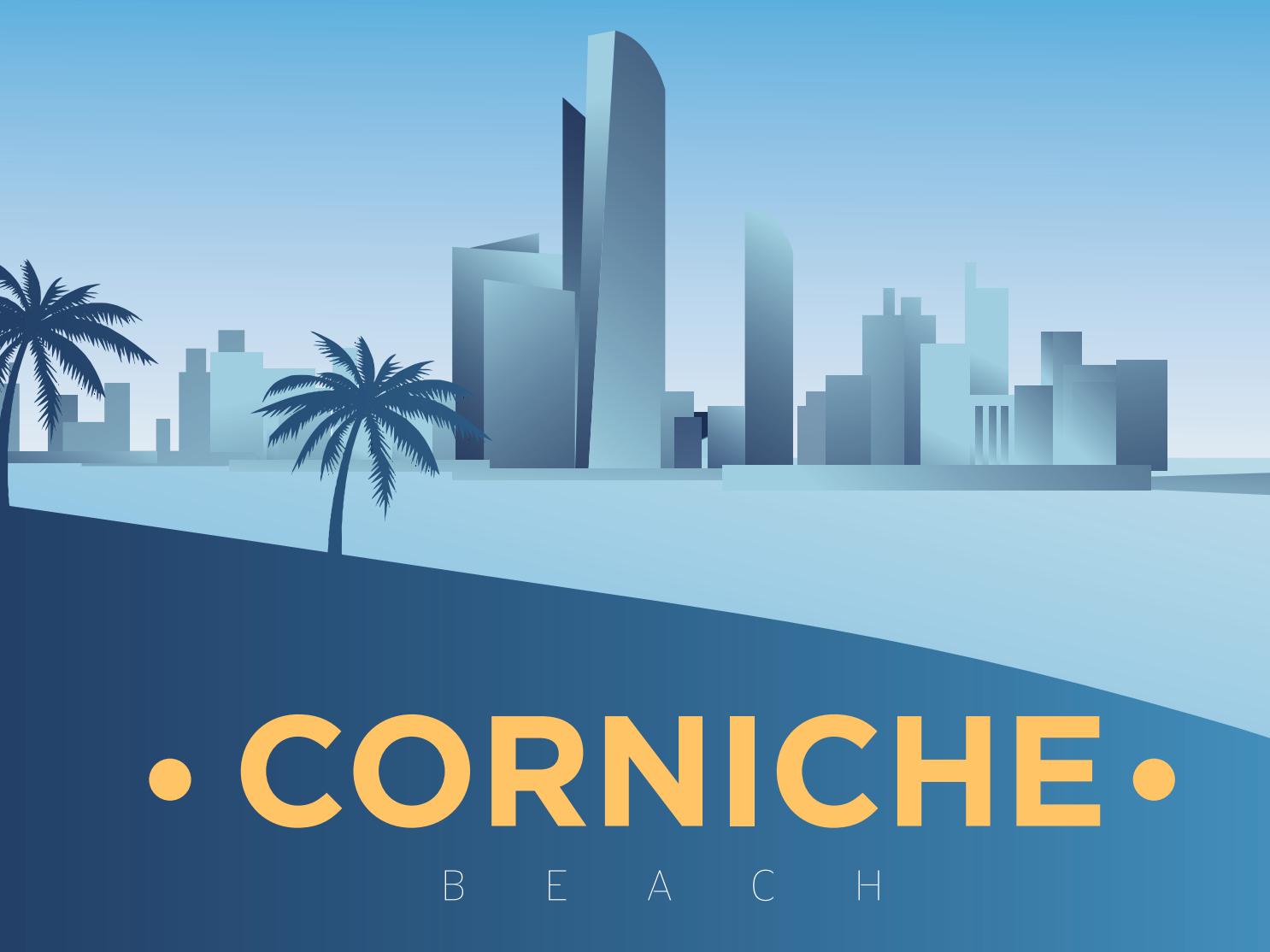 Corniche Beach skyline arabian abu dhabi abudhabi landscape art vector corniche illustration