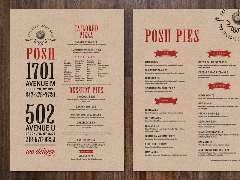 Posh Pizza Menus pizza menu typography restaurant brand kraft texture posh tomato posh