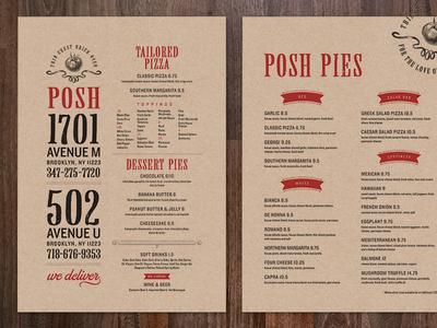 Posh Pizza Menus
