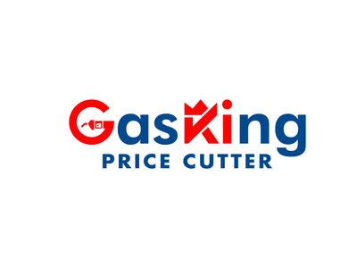 GasKing blue and red red brand art vector abstract minimal typography identity branding lgoo g price king gas station gas