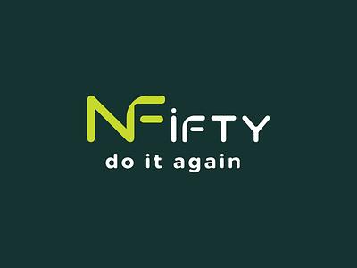 Nifty Fifty logo Design for my client logotype nf logo design art icon designer shop modern art lettering website abstract vector minimal typography identity logodesign branding design logo