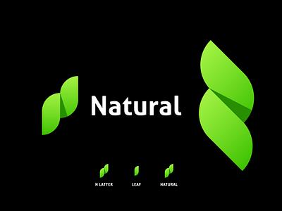 Natural logo logo concept logo idea logo creation logo maker modern logo graphic design grean logo leaf leaf logo vector minimal icon identity design logo branding nlatter nlatterlogo natural ntural logo