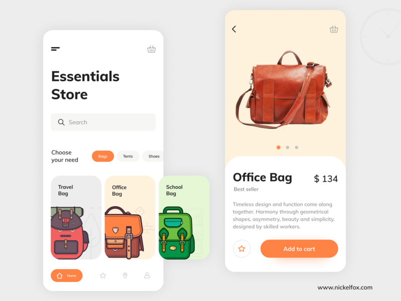 Essentials Store App store app bags trend 2020 uidesign ux ui illustration designer userinterface visual design app design interface shopping mobile mobile app colors cards app
