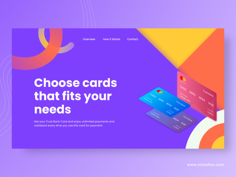 Trust Bank Card landing page minimal web ui design typography userinterface website app ux ui 3d illustration branding colorful cards banking