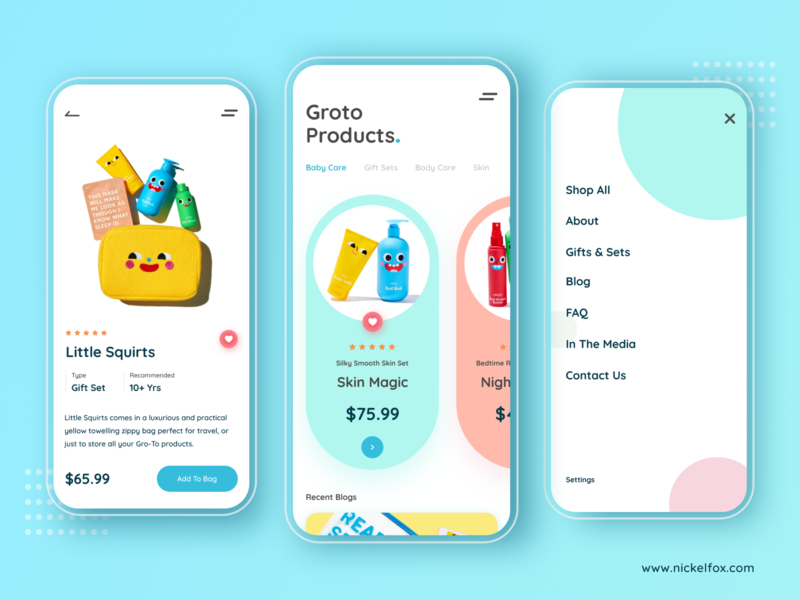 Groto Baby Products branding color ui kids products kids uiux ui design typography shop products mobile app minimalist ecommerce app ecommerce app screens app design 2020 trends