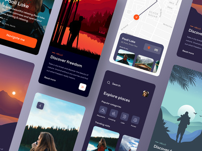 Travel App travel app explorer onboarding app design minimal typography illustration app userinterface color visual design ux ui