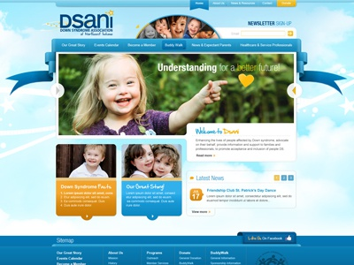 Dsani website web blue orange clouds down syndrome