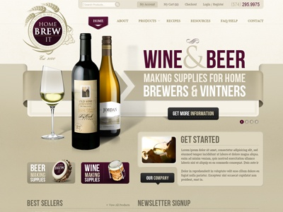 HBI Project user interface burgundy ecommerce brown web design vintage catalog grey ui web ui tan products web website wine beer brew