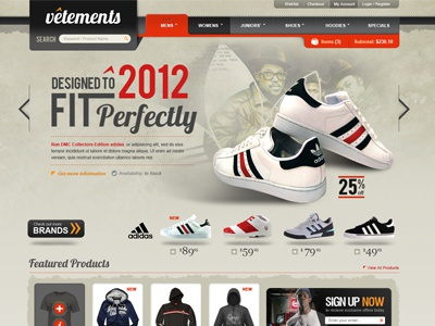 Vetements business adidas catalog products web design orange grey banner magento web website design ecommerce shoes clothes distressed web ui 2012 rotator