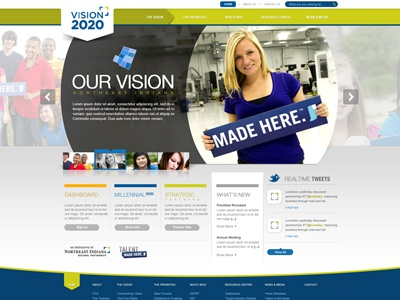 Vision 2020 website web blue orange design cta social media banner rotator indiana vision html5 round call to action arrow green