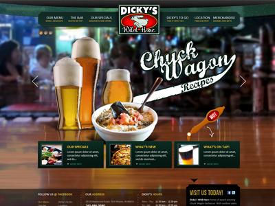 Dicky's Wild Hare bar beer web website design green hare food drinks web design typography