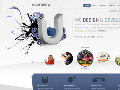 Userbility web design marketing purple 3d header rotator circles website grey clean firm agency icons web design abstract 3d logo floating business