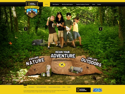 Natgeo AE Project web site nature green natgeo kids web design interactive design yellow colorful explorer grunge map bugs ui web ui rotator banner website national geographic products toys arrows