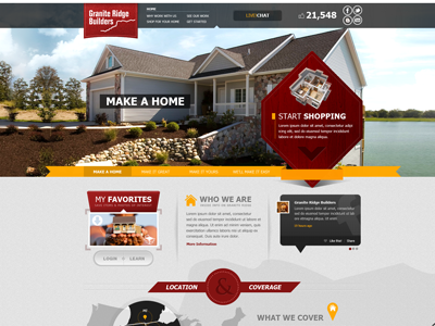 Home Builders home builders web website cta homes red textured map ribbon grey live chat social design buckets photo banner navigation