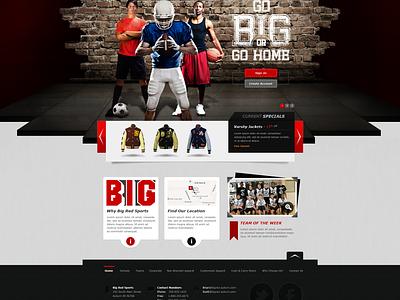 BRS Website sports web design red site football basketball apparel magento grunge distressed web design website ecommerce soccer navigation
