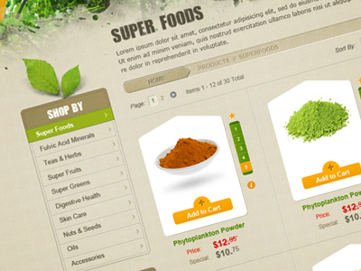 Magento Catalog Sneak Peak magento web website design ecommerce food leaves organic clean catalog green tan brown products
