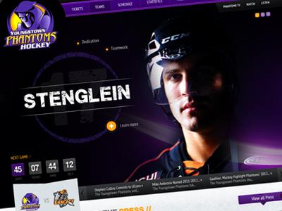 Phantoms Hockey website design purple hockey sports web counter