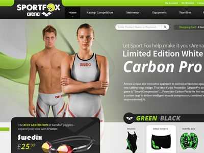 Sportfox - Arena magento webdesign web e-commerce catalog products swimwear arena green black site design banner grey swedix carbon web design ui cta