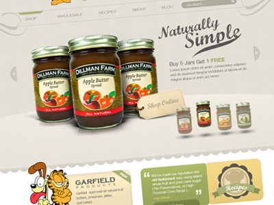 Dillman Farms jam web design website catalog garfield jars web design cta tag clean rotator