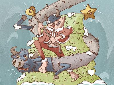 Christmas Time cartoon illustration cartoon procreate postcard christmas adobe characters design vector illustration