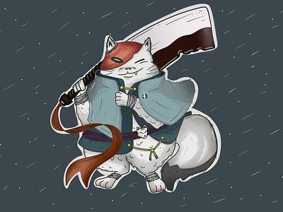 Cat Warrior procreate procreate art cartoon illustration cartoon characters art design illustration