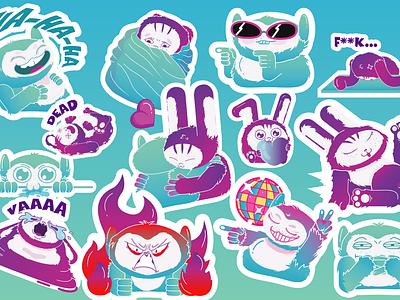 Bon-Bon and Cosmo sticker pack procreate flat cartoon illustration cartoon adobe characters art design vector illustration stickers