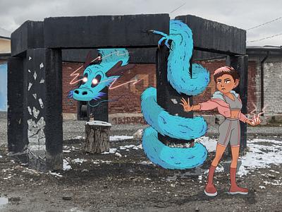 Pokemon in the city pokemon girl character dragon illustration art character design procreate art adobe illustrator cartoon illustration cartoon characters art illustration