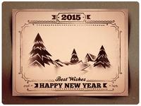 2015 New Year Retro Postcard