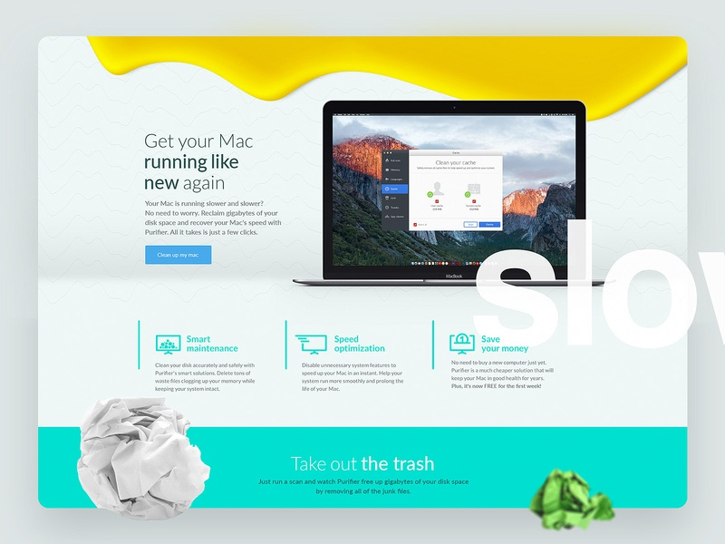 A landing page concept for an app apple macintosh mac conversion website web design web app uidesign ui onepager onepage landing page landing branding