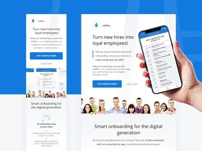 Landing page for inOffice onboarding tool office planner schedule calendar landing page hr usertive comfy employee minimal clean onboarding new job mobile design web design web