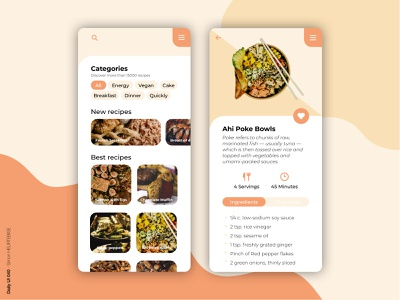 Daily UI 040 - Recipe food app dailyui040 pokebowl recipe design webdesigner uxdesign ui daily 100 challenge userinterface uiux uidesign dailyuichallenge dailyui