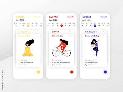 Daily UI 070 - Event Listing primary colors 070 event listing illustration daily 100 challenge design webdesigner uxdesign ui userinterface uiux uidesign dailyuichallenge dailyui