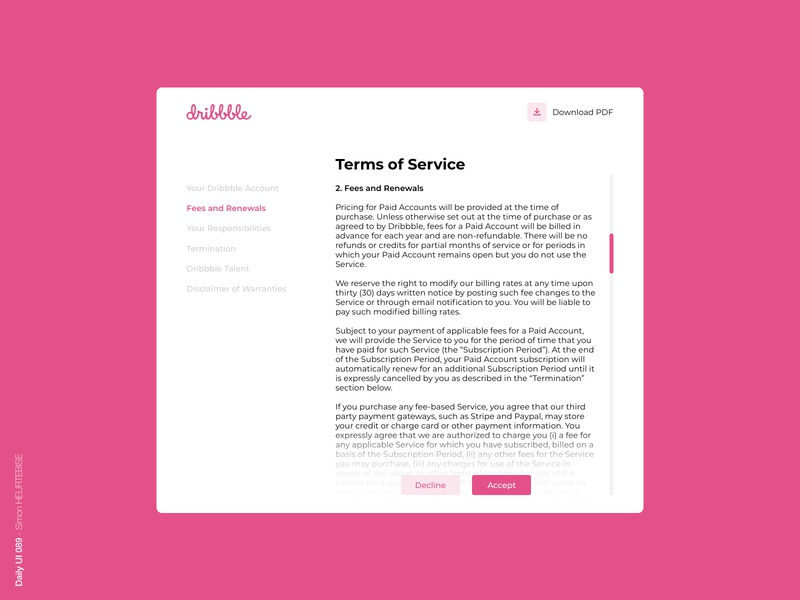 Daily UI 089 - Terms Of Service dribbble dailyui089 089 terms of service daily design ui webdesigner uxdesign daily 100 challenge userinterface uiux uidesign dailyuichallenge dailyui