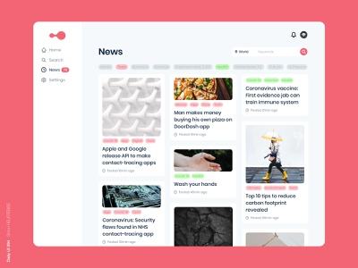 Daily UI 094 - News tag articles newsfeed 094 coronavirus covid19 news covid ui daily 100 challenge design webdesigner uxdesign userinterface uiux uidesign dailyuichallenge dailyui
