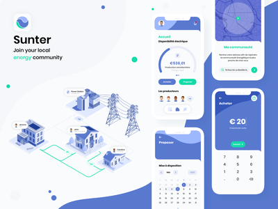 Sunter App - Join your local energy community energy neighbors tracker gps point isometric art isometry user calendar payment map gauge community illustration userinterface uiux uxdesign