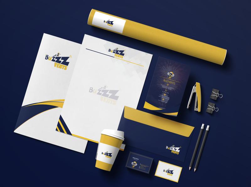 BUZZZVENTS logodesign stationery advertising branding and identity mockups branding design logo branding events