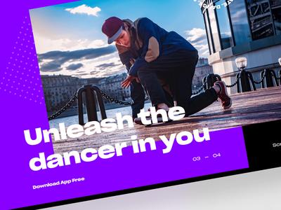 VR Dance mini site webdesig ux ui typogaphy black minimal clean purple dance site web