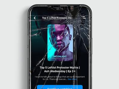 Streaming App glass mobile series film movie video clean design mobile ui app gallery ui black