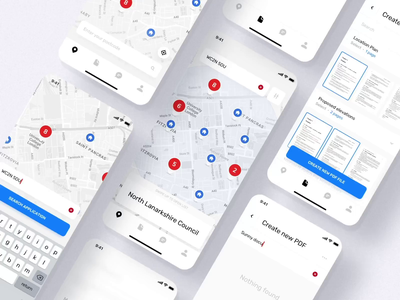 Planning App. Document Overview animation bar white ux menu map clean ui app mobile