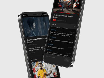 Video App. Application builder for video makers. Part Three tv live stream movie series design ui black app mobile