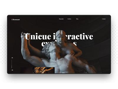 Art Gallery Site Concept statue design ui black clean art direction art webdesign website web